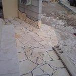 石貼りとスタンプコンクリート ヴィンテージウッドビフォーアフター