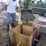 四日市で カーポート 三協立山フォーグを施工、基礎コンクリート打設