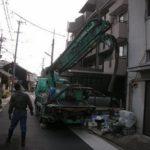 名古屋市 中村区でポンプ車を使って裏庭を、、、