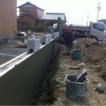 外構壁モルタル下地施工中
