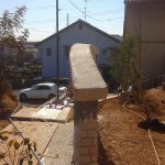 名古屋市瑞穂区で高低差のある外構工事モルタル造形門塀#5